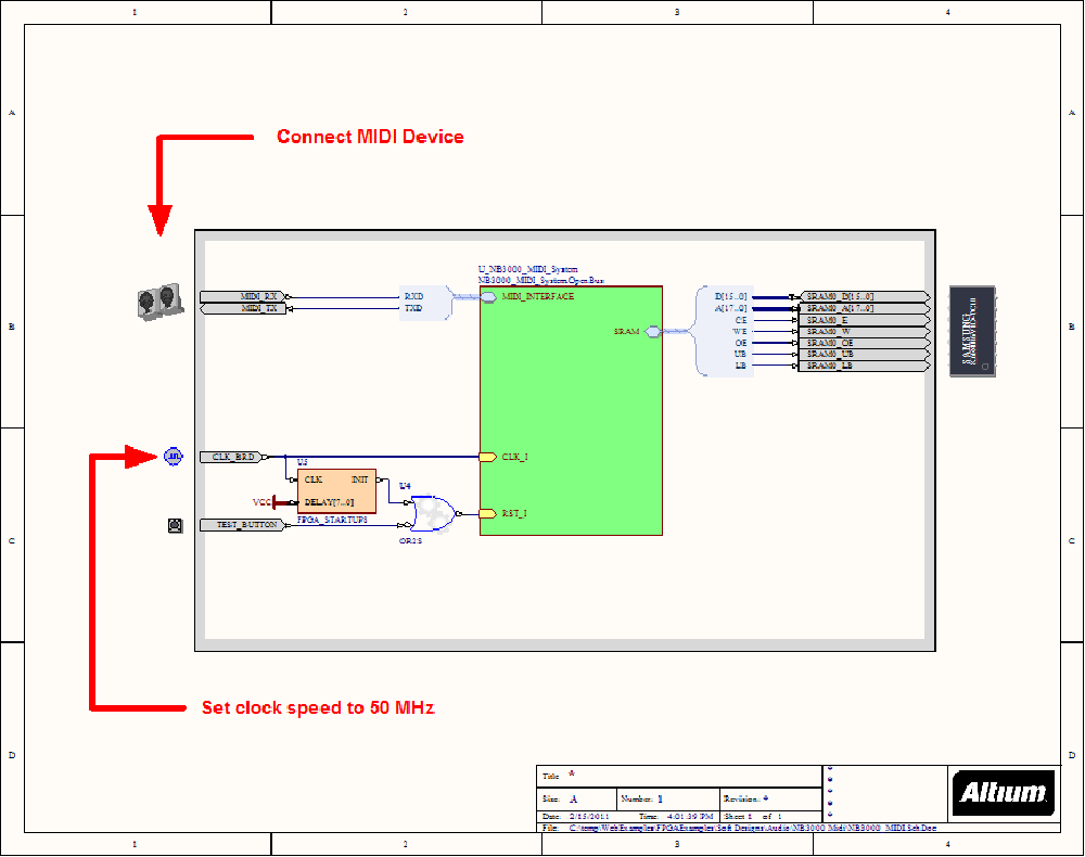 MIDI (NB3000) - NanoBoard Example Designs